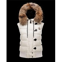 Moncler Tarn Hooded Neckline White Waistcoats Techno Fabric/Racoon Womens 41249886BS