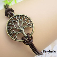 Tree of life bracelet---The retro coppery tree of life bracelet with brown leather rope----S003