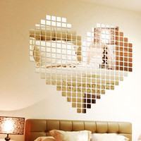 100 Piece Self-adhesive Mirror Tile 3D mirror Wall Stickers Decals Mosaic Room Decoration Modern plastic acrylic Mirror