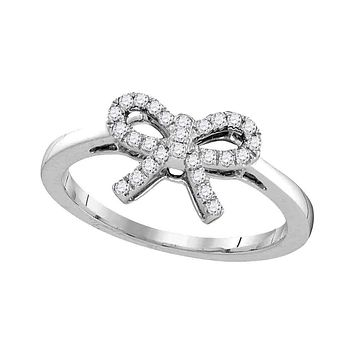 10kt White Gold Women's Round Diamond Ribbon Bow Knot Ring 1/6 Cttw - FREE Shipping (US/CAN)