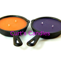 Cast Iron Skillet Candle - Highly Scented Candle - Double Wick - Custom Candle - Cast Iron Skillet - Designer Candle - Two Wick Candle