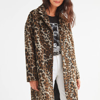 UO Leopard Print Overcoat   Urban Outfitters