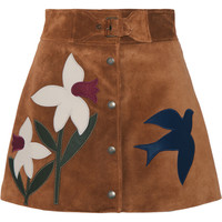 REDValentino - Leather-trimmed suede mini skirt