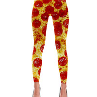 Pepperoni Pizza Print Leggings