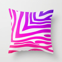 Colorful Zebra Print Throw Pillow by KCavender Designs