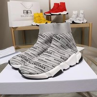 Balenciaga Speed Trainers Grey With Black Logo Print Sneakers