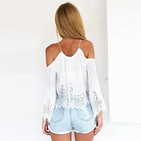Flymall Halter Open Shoulder Lace Crop Top Blouse