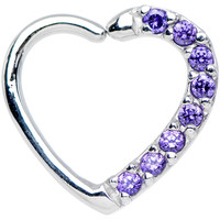 16 Gauge Purple CZ Heart Left Closure Daith Cartilage Tragus Earring | Body Candy Body Jewelry