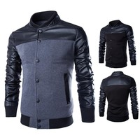 Stylish Buttoned Leather Jacket