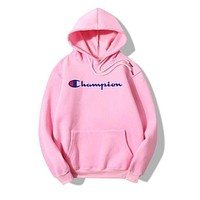 Champion Woman Men Fashion Edgy Embroidery Sport Stripe Long Sleeve Hoodie Shirt Sweater Top Tee Pink