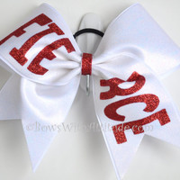 """3"""" Wide Luxury Cheer Bow - Red Fierce on White"""