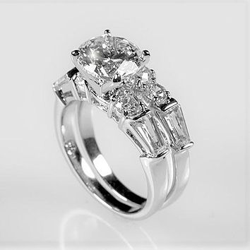 Odessa 2ct Round CZ Baguette Engagement & Wedding Ring Set | 4ct