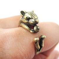 Realistic Hamster Gerbil With Walnut Animal Wrap Ring in Brass   US Size 6 to 9
