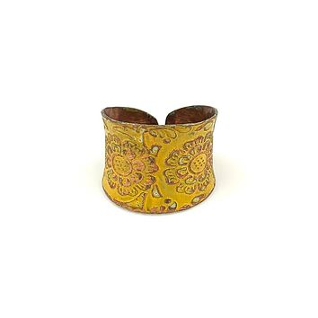 Anju Copper Patina Ring in Yellow Decorative Flower