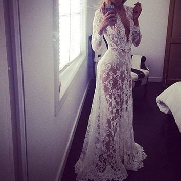 European Style Summer Women Dress Sexy Lace Embroidery Maxi Long Dresses Long Sleeve Deep V Neck Plus Size available