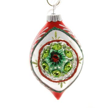 Shiny Brite HS ROUNDS & TULIPS W/REFLECTOR. Christmas Ornament 4027566 Red.
