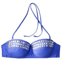 Target : Xhilaration® Juniors Bandeau Push-Up Swim Top with Silver Studs -Blue : Image Zoom