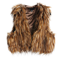 Brown Sleeveless Fur Cropped Coat