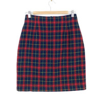 Vintage 90s Red Plaid Skirt - Women's Wool Blend Above the Knee Pencil Skirt 1990s Clothing Winter Clothes Sustainable Fashion