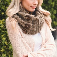 Button Infinity Scarf - Latte