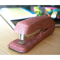 Copper Rose Pink Glitter Stapler, Office Supplies, Decorative Stapler, Stapler, Classroom Supplies