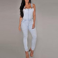 Classical Dungarees Women Denim Jeans Bib Overalls Straps Jumpsuit Rompers Trousers