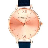 Olivia Burton Big Dial Navy Watch With Rose Gold Face - Navy and rose