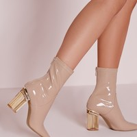 Missguided - Patent Ankle Boots Perspex Heel Nude
