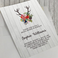 Printable Bridal Shower Invitation, Rustic Wood, Antlers and Flowers, Modern Bridal Shower, Bridal, 5x7 in, Baby Shower and Birthday Options