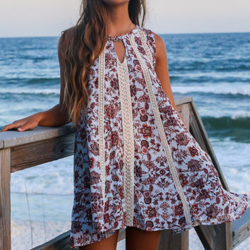Adore You Blue Tank Dress With Lace and Floral Detail