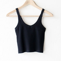 Ribbed Cami Crop Top - Black