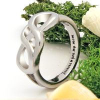 """Infinity Ring - Mother Silver Ring Engraved on Inside with """"Forever Love You My Mom"""", Ring Sizes 6 to 9"""