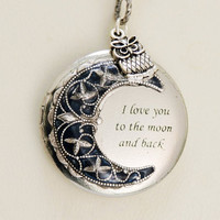 Locket,Owl Locket,Moonlight Owl,Silver locket-I love you to the moon and back ,Bridesmaid Necklace,Wedding Necklace,Valentines Day Necklace