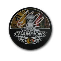 Autographed Corey Crawford 2013 Stanley Cup Champions puck