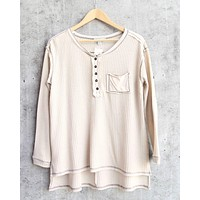 long sleeve stone washed thermal top - taupe