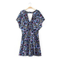 Summer Women's Fashion Pastoral Style Print Short Sleeve V-neck Shorts Jumpsuit [4917849604]