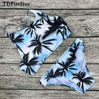 Print Floral Palm Tree Bikini Set Halter crop top hang High neck Bikinis set push up Swimwear Women Swimsuit beach bathing suit