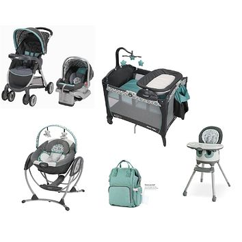 Graco Green Baby Gear Bundle, Stroller Travel System,Play Yard,Swing,High Chair & Diaper Bag