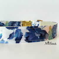 Dog Collar, Blue Floral dog collar, Fancy Dog Collar, Gold Dog Collar, dog collar floral, Girl dog collar, -Gold or Silver hardware!