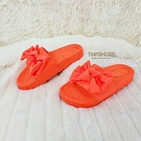 Broadwalk Bow Neon Orange Slip-on Summer Flat Sandal Slipper Shoes