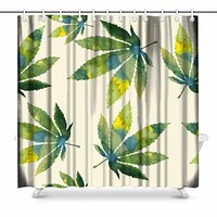 Trippy Pot Leafs Print - Weed Lover's Shower Curtain