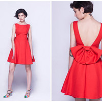 red dresses for women,short,sleeveless,backless,bowknot at back,pleated,elegant and fashion,for party,date,homecoming,evening.