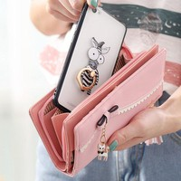 Women Bow Tie Bright PU Leather Wallet Card Holder Purse