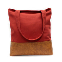 Red Tote Bag, Large Shopper Bag, Vegan Leather Tote, Red Teacher Tote, Urban Shoulder Bag, Faux Leather Tote,Red Shoulder Bag,Large Tote Bag
