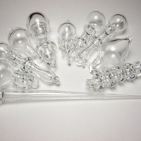 Clear Glass Ornaments - Hand Blown - Set of 10