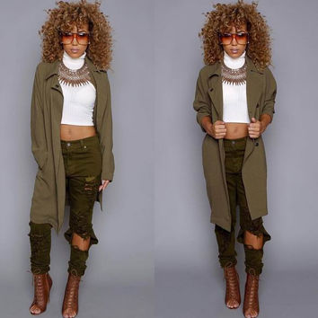 Army Green Open Front  Notched Coat