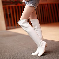 Thigh High Boots Square Heel Black and White Shoes Woman