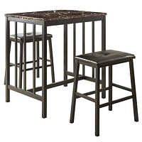 Contemporary Counter Height Set In Metal, Faux Marble & Leatherette, Black, Set Of 3
