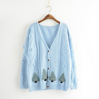 Tree Print Long-Sleeve Button Knitted Shirt
