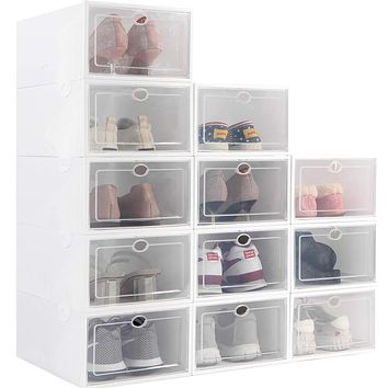Stackable Shoe Storage Box, Foldable Clear Plastic Shoe Organizer 12 Pack, Need to be Assembled (White) B-White
